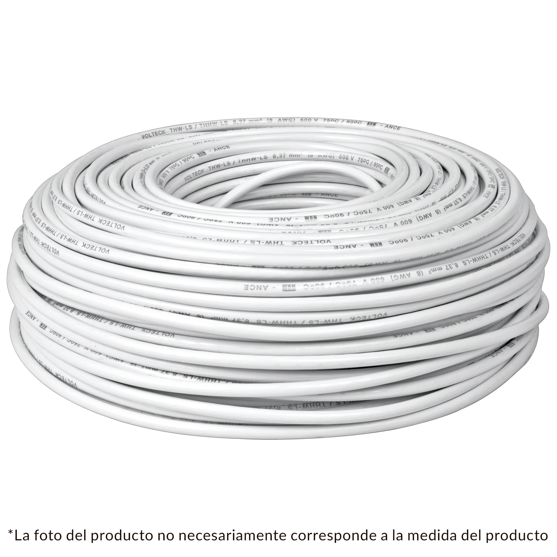 Cable THHW-LS, 12 AWG, color blanco rollo 100 m