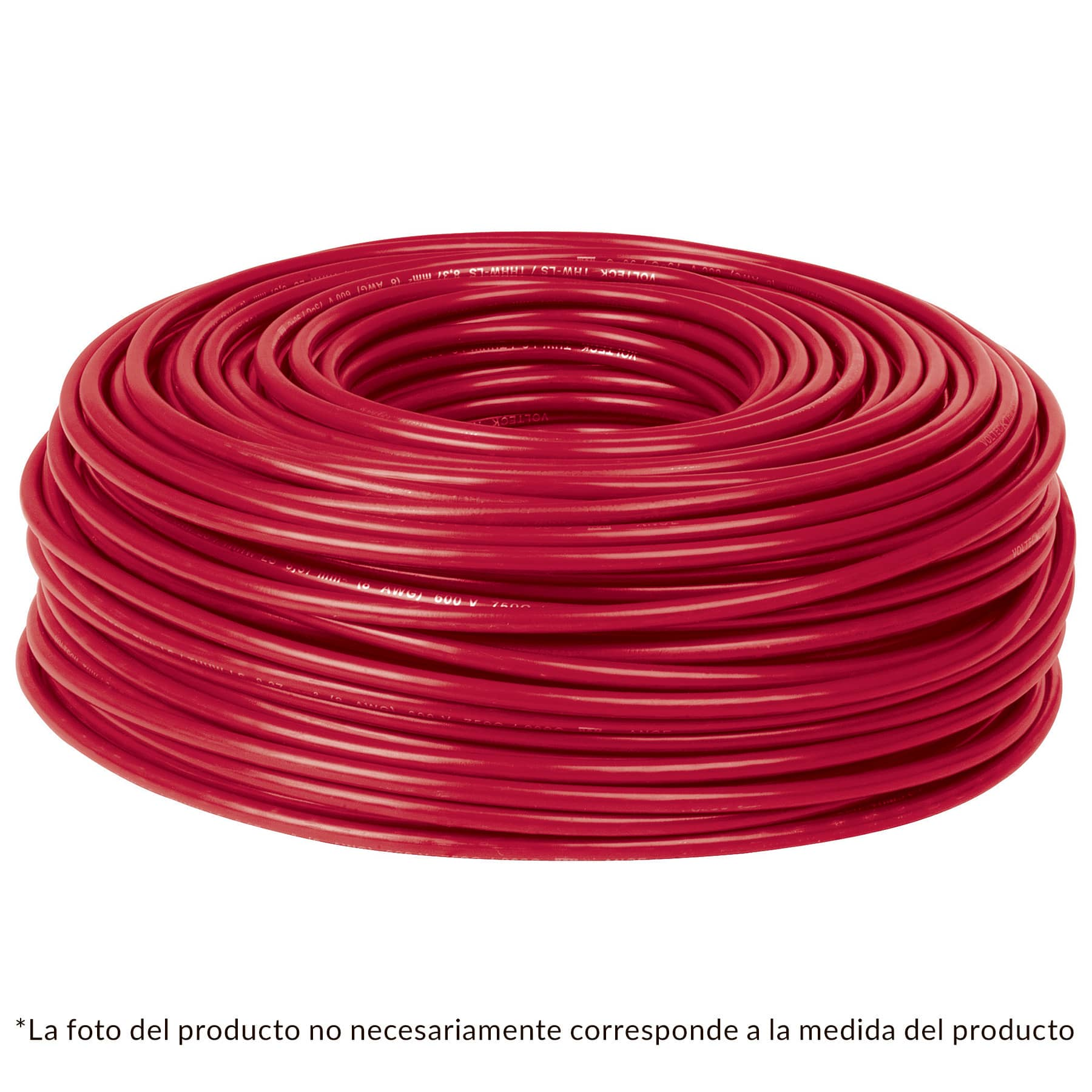 Cable THHW-LS, 12 AWG, color rojo rollo 100 m
