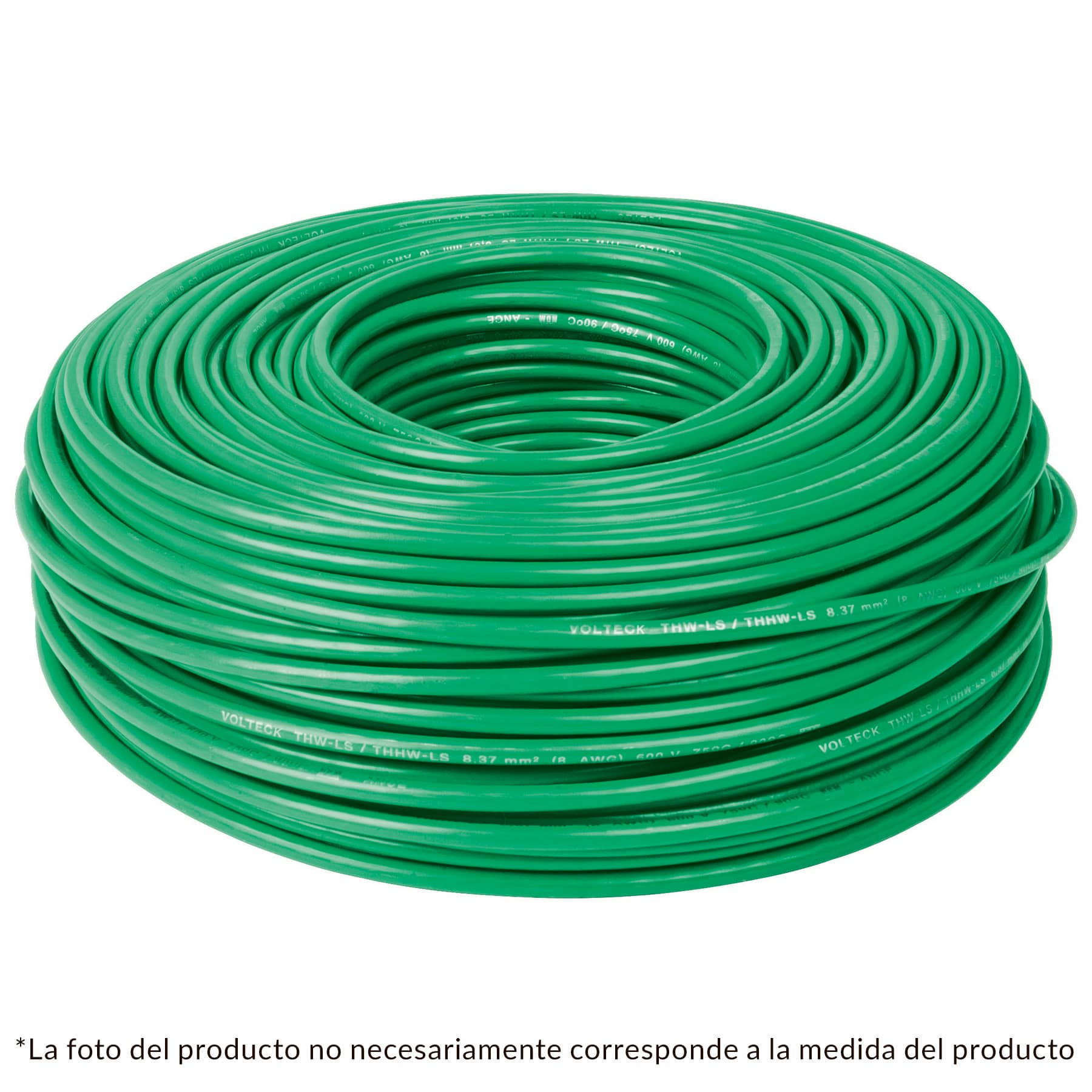 Cable THHW-LS, 14 AWG, color verde rollo 100 m